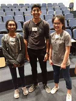 From left to right: BASIS Chandler students Latavya Chintada (3rd place), Rahul Jayaraman (1st place), and Grace Xu (2nd place) were the top three finishers in the Arizona Regional Brain Bee.
