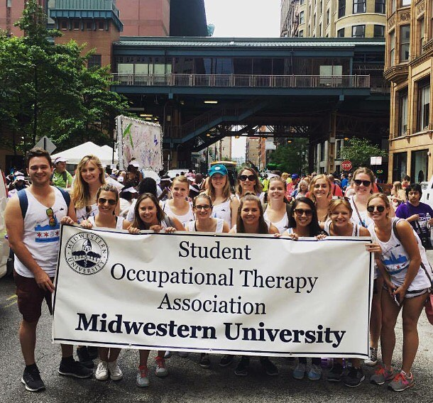 Occupational Therapy students from the Downers Grove Campus of Midwestern University participate in the annual Disability Pride Parade in Chicago.