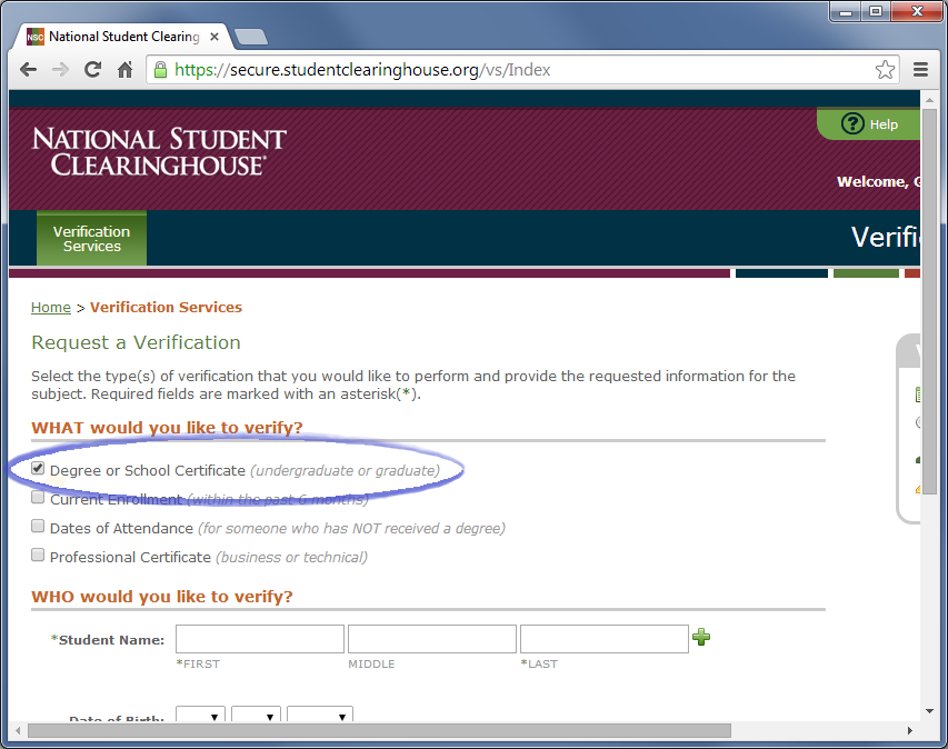 Select the checkbox for 'Degree or School Certificate.'